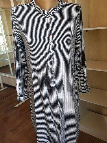 платье рубашка в пол в Кыргызстан: Платье-рубашка в полоску с заклепками. Отлично сидит по фигуре. Размер