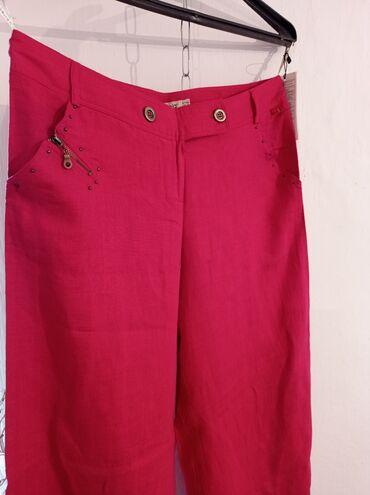 Продаются новые широкие хб льняные штаны, Турция, размер 52 (красного
