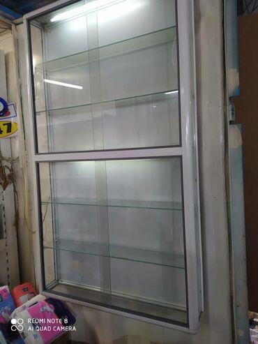 шкаф купе в Кыргызстан: Полки навесные торговые (алюминиевый профиль и стекло)Высота - 140