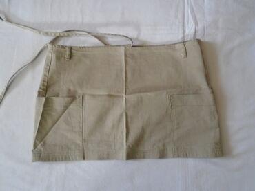 Sisley - Srbija: Sisley bež pamučna mini suknjica sa 2% elastina na preklop, sa dva