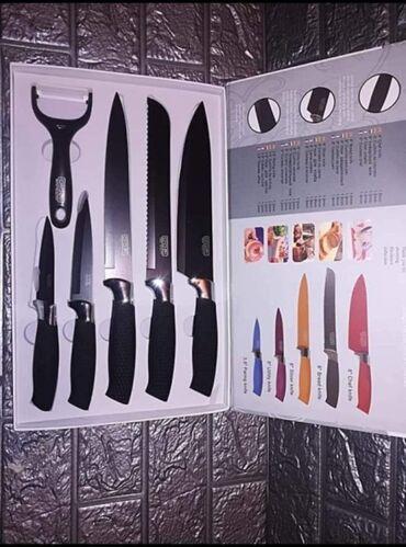 Kuća i bašta - Kursumlija: Set od 5 moderno dizajniranih noževa i jedan ljustač za povrce i voce