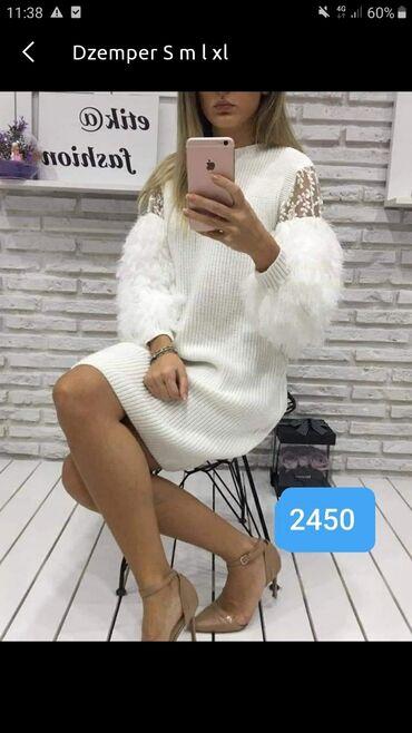 Haljina cipele - Srbija: Dzemper haljina S m l xl Bela sa cipkom