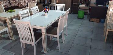 Стол полный мдф длина 1.60 ширина 80, стулья карагач 2500сом