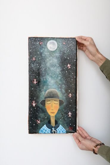 Ev və bağ Şəmkirda: Kompozisiya Kətan üzərində yaglı boya ilə işlənib Ölçüsü 25x50