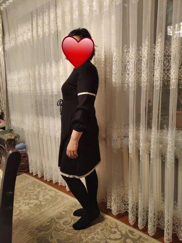 Платье чёрное трикотаж тёплое размер 46-48 в отличном состоянии