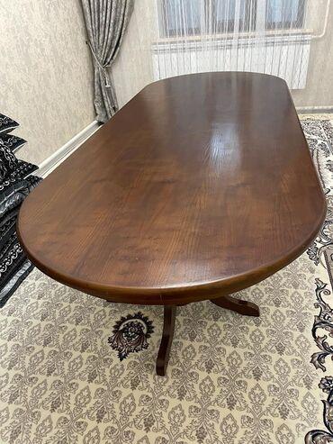 стол с табуретками in Кыргызстан   КОМПЛЕКТЫ СТОЛОВ И СТУЛЬЕВ: Продаётся 3 -х метровый кухонный стол и 6 стульев материал - кара