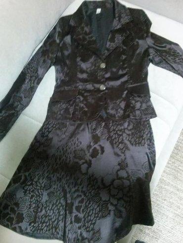 Sako suknja komplet - Srbija: Suknja i sako. Divan, braon baršunast komplet. Veličina 40