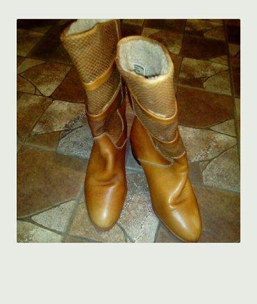 Prodajem kožne ženske, postavljene čizme leder broj 38 - Belgrade