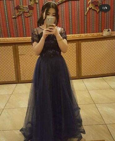 вечернее платье темно синего в Кыргызстан: СРОЧНО! Продаю пышное платье темно синего цвета размер 42 покупали за