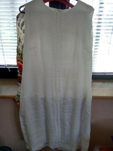 Lanena bela haljina br l kao nova sa tankom postavom