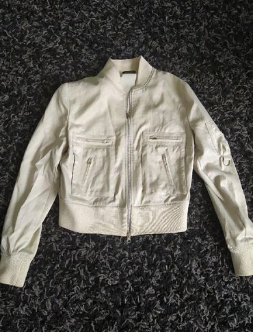Bomber satin jacket, TE QUIERO, size M, beige gold