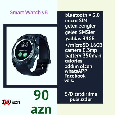 Smart watch v8Nomre desteyi Yaddas kartiKameraSes yazmaMp3 AlarmMsj