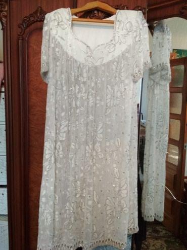 туники со штанами в Кыргызстан: Белое национальное платье, со штанами,ручной работы, нарядное, размер