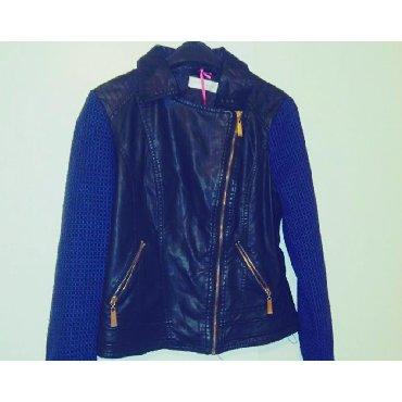 Biker jacketΧρώμα: Μαύρο με μπλε μανικιαΥλικό: Δερματινη και μάλλινα