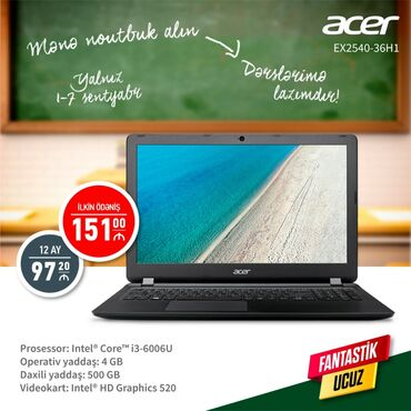 Acer.İlkin ödəniş-151 azn. 12 ay-97.20 azn. Sifariş və məlumatları