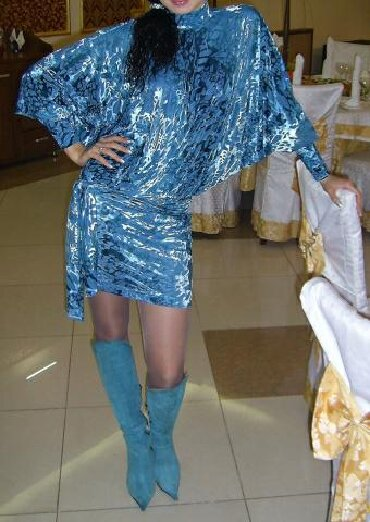 46-размер в Кыргызстан: Продаю шикарное платье,ткань велюр,размер44-46,сапоги в подарок(р