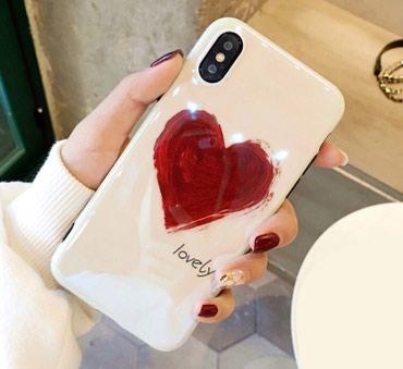 Мягкий, силиконовый чехол с красным сердцем На iphone 7-8/plus/X в Бишкек