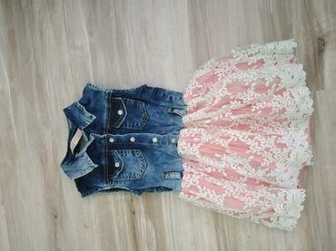 Dečija odeća i obuća - Sopot: Haljina za devojčice u velicini 104(4).Do pola je teksas a dole je