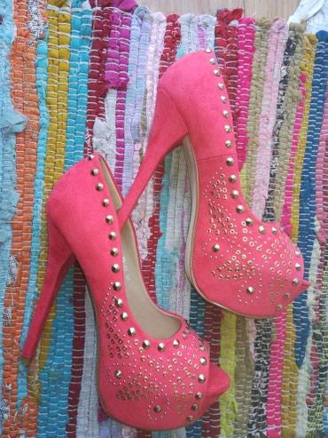 Cipele na štiklu, visina štikle 15cm, platforma 4cm,koralna boja sa - Novi Sad