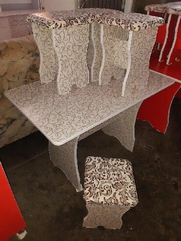 стол на кухню раскладной в Кыргызстан: Стол 4шт табуретка 3000сом+Дос Стол 6шт табуретка 4500+доставка