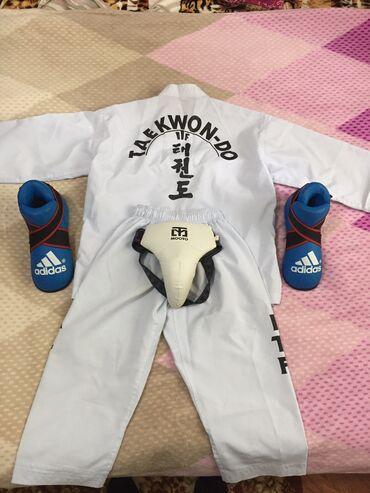 Спорт и хобби - Лебединовка: Набор для чемпиона!!!Taekwondo ITF форма+защита на пах+футы!!!набор на