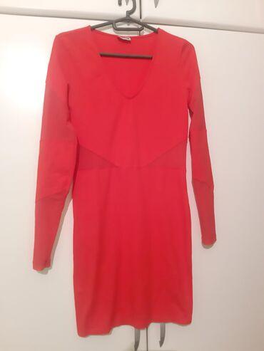 Haljine | Vrsac: Crvena haljina, nošena samo 1, ima detalje malo prozirne, mrežica kao