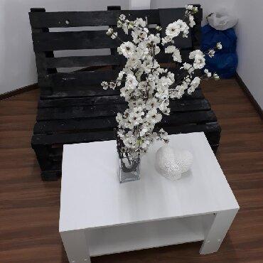 Столы в Кыргызстан: Офисный журнальный столик 80х50 белый есть доставкаЭмерек