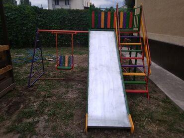 Игровой детский комплекс горка+ качеля+ турник! Неплохое решение для