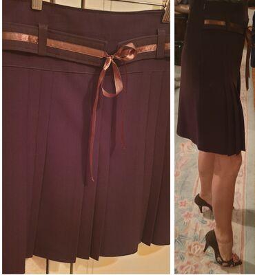 Braon deblji saten - Srbija: Poslovna suknja od stofa, braon, plisirana, sa faltama, do kolena