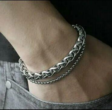 стильные платья для полных девушек в Кыргызстан: Стильный мужской браслет ( двойной) из титановой стали. Не чернеет, не