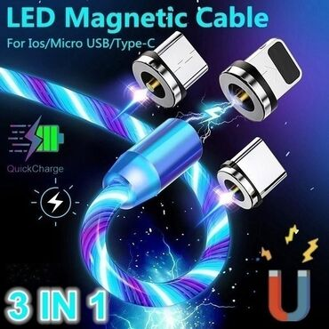 Huawei ascend y520 - Srbija: 2020 NEW Flowing LED Light Magnetic Cable Charger 3in1 Magnetic Cable