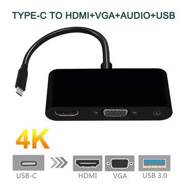 переходник тюльпан hdmi в Кыргызстан: Продаю переходник Type-C на HDMI/VGA/USB 3.0Подойдет на MacBook и на