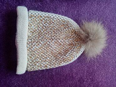 Zimska kapa sa pravim krznom, bez boje sa zlatnim cirkonima, topla, 1x