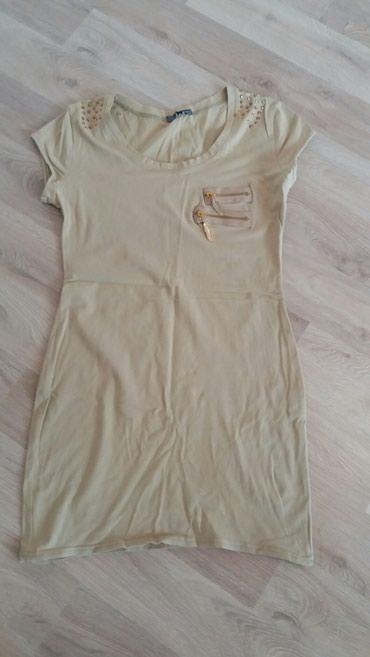 Zenska tunika, kratkih rukava, bež boje, sa zlatnim detaljima u - Krusevac