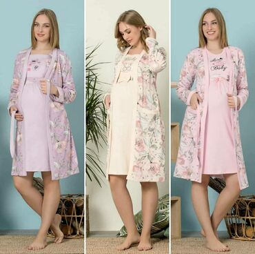Сорочка +халат для беременных и кормящих мам. Розовый 44-46 Фиолетовый