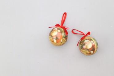 Дом и сад - Украина: Ялинкові новорічні кульки з декором (2 шт.)   Діаметр: 8 см  Стан гарн