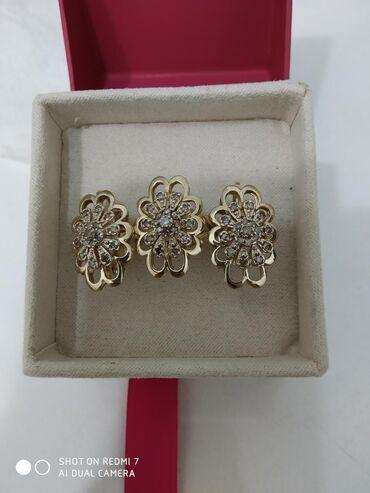 Золотой Комплект с бриллиантами, (по цене фианитов) жёлтое золото 585