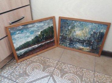 аукцион картин в Кыргызстан: Две картины маслом (мастихинная живопись) размер 50×40см. Заслуженный