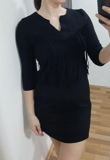 Sako crne boje - Srbija: Crna mini haljina, sa resamaBoja postojana, crna,nosena samo jednomVel