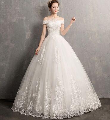 свадебное платье футляр в Кыргызстан: Свадебное Платье Новое Размер 44/46 регулируется Фата и подъюбник в