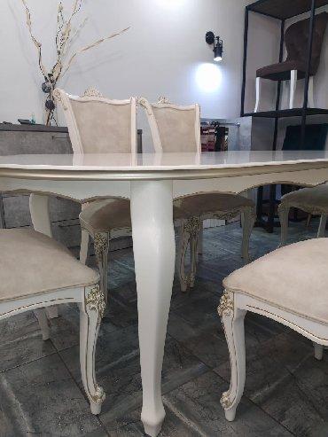 стол с двумя стульями в Кыргызстан: В наличии стол и стульяСтол на 6 персонМассив Выкрашены итальянской