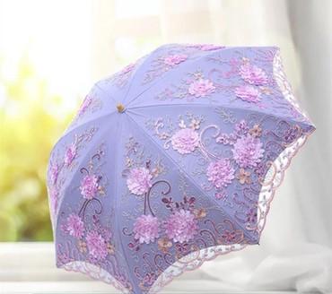 Şəxsi əşyalar Qusarda: Новый вышитый кружевной зонтик принцессы, солнцезащитный зонтик от