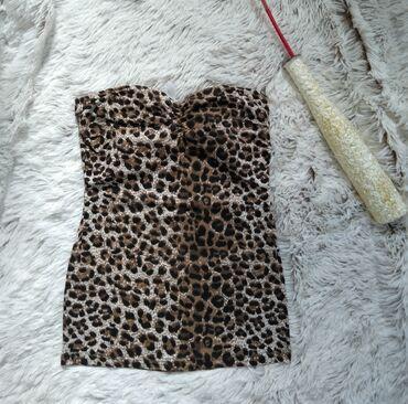 Animal print top, braon crni, S vel. Nov