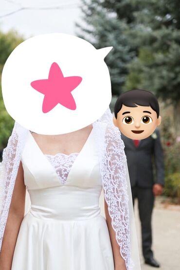 атласное платье со шлейфом в Кыргызстан: Нежное свадебное атласное платье со шлейфом, в единственном экземпляре