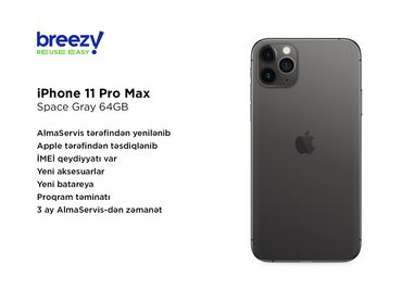 IPhone 11 Pro Max | 64 GB | Boz (Space Gray) | İşlənmiş | Zəmanət, Simsiz şarj, Face ID