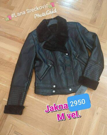 Kozna jakna M velicina Postavljena Crna