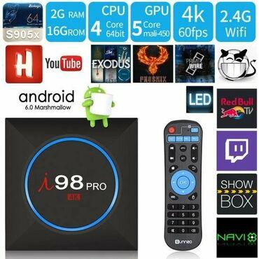 TV/video üçün aksesuarlar Bakıda: Tvbox tv box i98 ən yeni 10.000 kanal təmiz orginal 2Ram 16Gb pulsuz