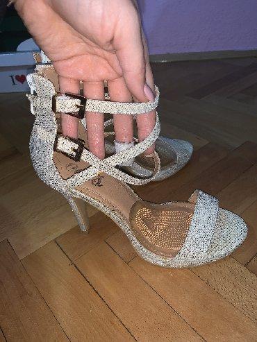 Ženska obuća   Kursumlija: Zlatne sandale, jednom nošene, 38 broj