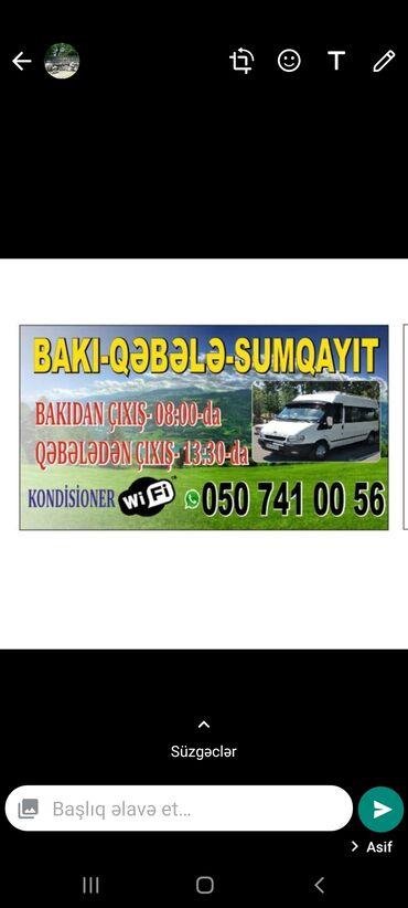 582 elan | XIDMƏTLƏR: Baki-Qebele-Sumqayit.Sumqayitdan 07:00 da,Bakidan 08:00 da,Qebeleden
