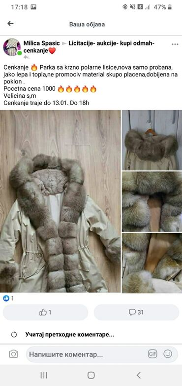 Moto jakna akito - Srbija: Parka jaknaprirodno krzno polarne lisice,velicina mNova samo probana